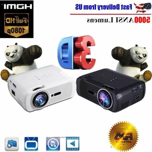 7000 Lumens 3D Home Cinema Theater LED Projector 1080P FHD H