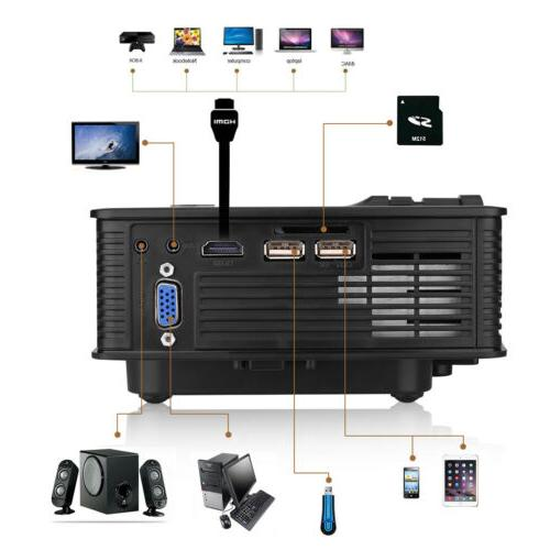 3D LED Projector HD 1080P HDMI/USB/SD/AV Home Cinema