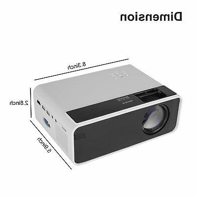 8000 LED Projector Video Home Theater VGA AV USB