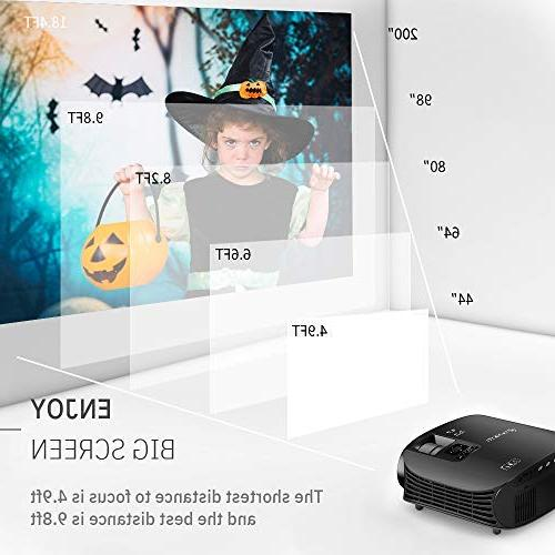 "VANKYO Leisure 510 HD Lux, Projector with 200"" Size, Support 1080P VGA AV USB HDMI Cable and"