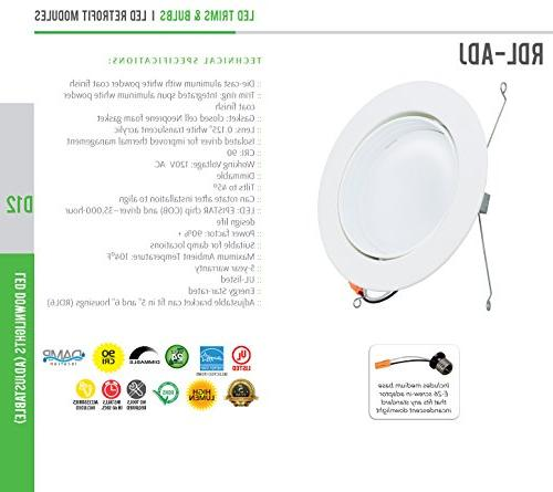 Adjustable Retrofit with Integrated Smooth Trim, Dimmable LED Fixture, Damp 120V YR Warranty