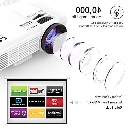 "DR. J 1080P Mini Projector 170"" Display - 40,000 Hours LED Full HD Video Compatible"