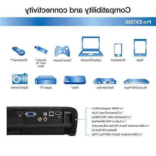 Epson 3,600 color brightness 3,600 white brightness wireless MHL projector