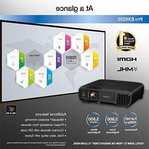 Epson Pro WUXGA 3,600 brightness 3,600 lumens white brightness wireless MHL 3LCD projector