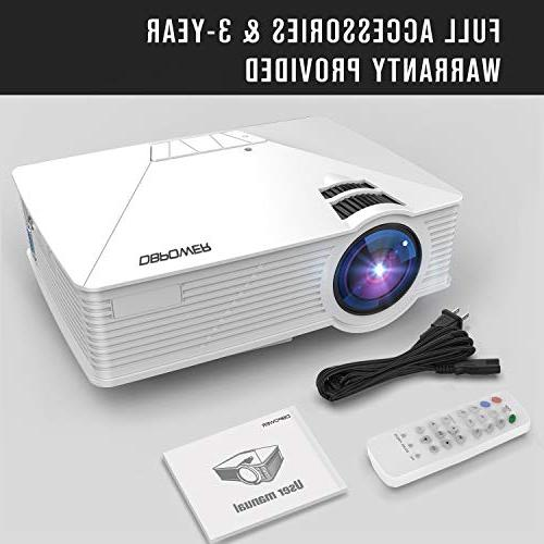 Mini Projector, DBPOWER Projector Life, Home Theater LED Supports Amazon HDMI/VGA/AV/SD,
