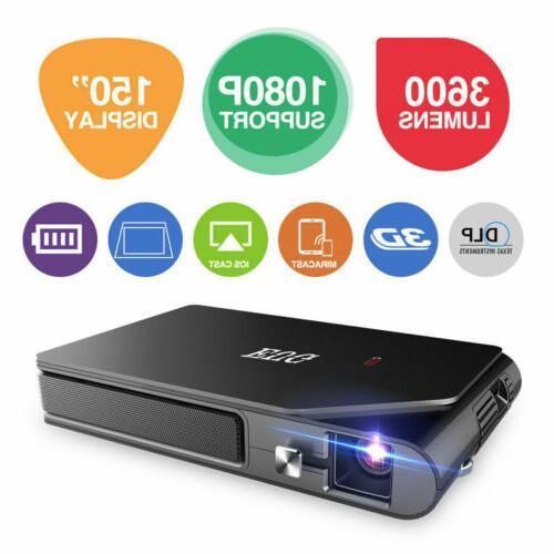 Portable Mini 1080P HD DLP 3D WiFi Projector Airplay Home Th
