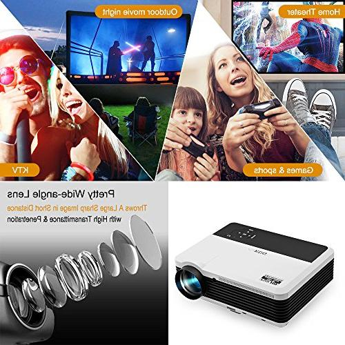 """200"""" Image LCD Diaplay 1080P HD Theater Video Projectors, Built-in HiFi USB RCA AV for Entertainment"""