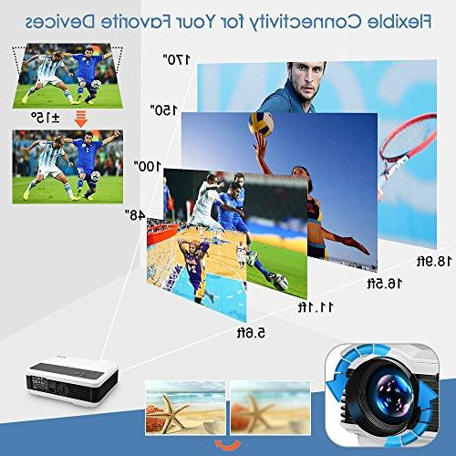 "EUG Projector 3900 200"" Diaplay 1080P Theater HiFi USB RCA Audio AV Entertainment Movies"