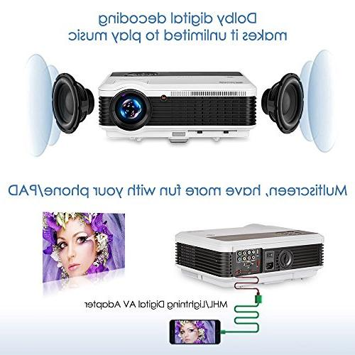 """EUG Projector 3900 Lumen 200"""" Image LCD Diaplay 1080P Multimedia Home Theater Video Projectors, Built-in HiFi Entertainment Gaming"""