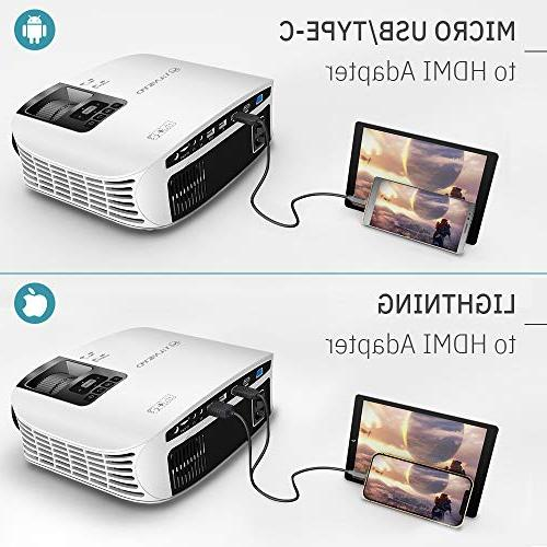 HD Movie Projector, Video Projector with Size, VGA USB Free HDMI Cable and Carrying Bag