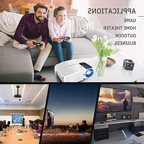 HD Video Projector with Size, Support VGA AV USB with Free and Carrying
