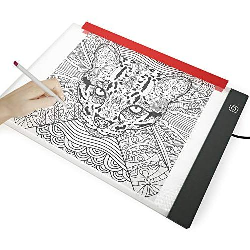 Illuminati Light Drawing and Tracing ~ Super Thin LED Light Tablet Hi-Mid-Low Control ~ with A4 & Clamp