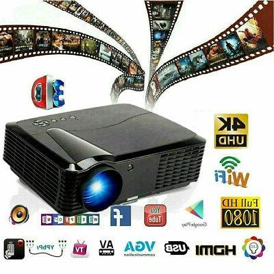 Video Movie Projector 1080P Full HD LED Home Theater 3D Dual