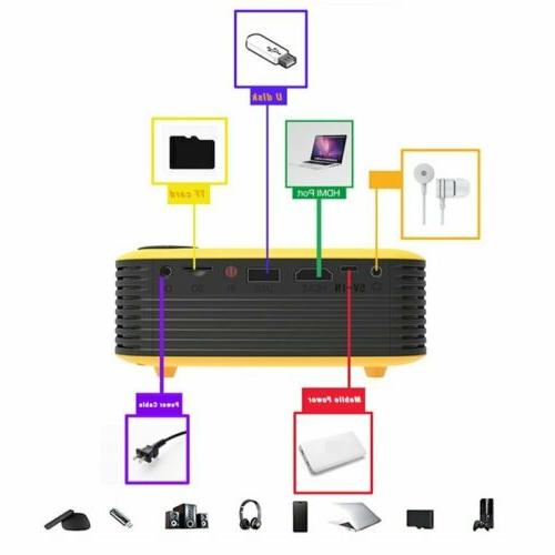 1080p Full Portable Mini Projector Home Theater Cinema HDMI AV