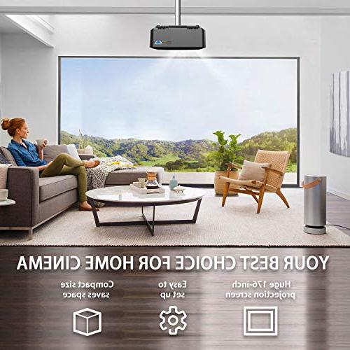 DBPOWER Mini Projector, Brighter HD Display, Lifespan, Home Theater Projector with Stick, HDMI/VGA/AV/USB/TF