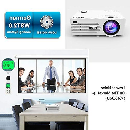 "QKK Mini Projector HD Projector Life with 170"" Display for Entertainment,Video Projector for"