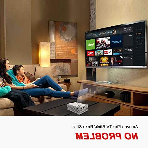 "QKK Projector HD LED Projector Supported, 50,000 Hour Life with 170"" for Home Theater Projector for Card,AV,VGA,USB"