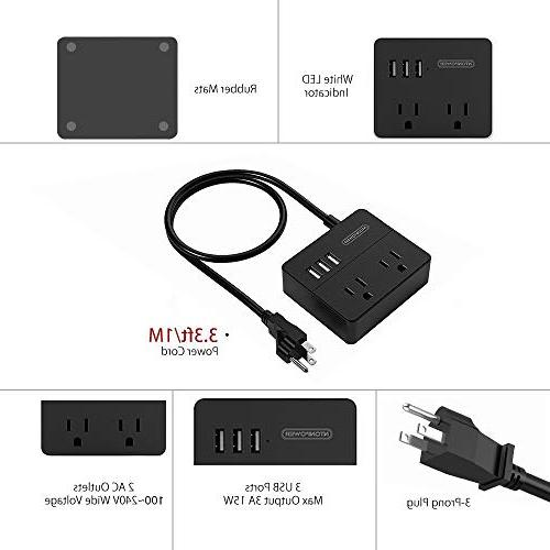 Power Strip Ship Charging 3 with 3.3 Ft Cord Black