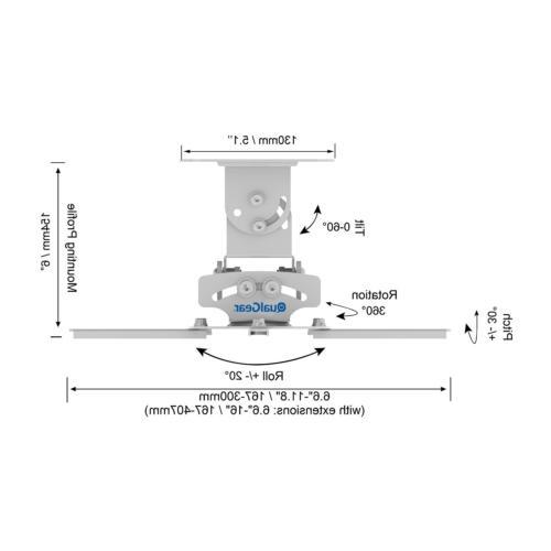QualGear Universal Mount Projector Accessory White Mount