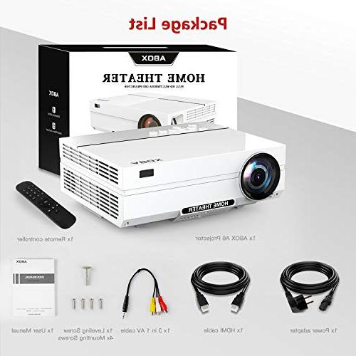 Projector, ABOX Home Projector, Up Image Sound, 400 ANSI 50,000 Card, AV
