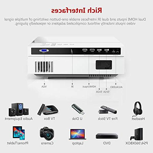 Projector, ABOX Home Theater Projector, Up to Image Sound, ANSI Lumen, 50,000 Supports USB, SD Card,