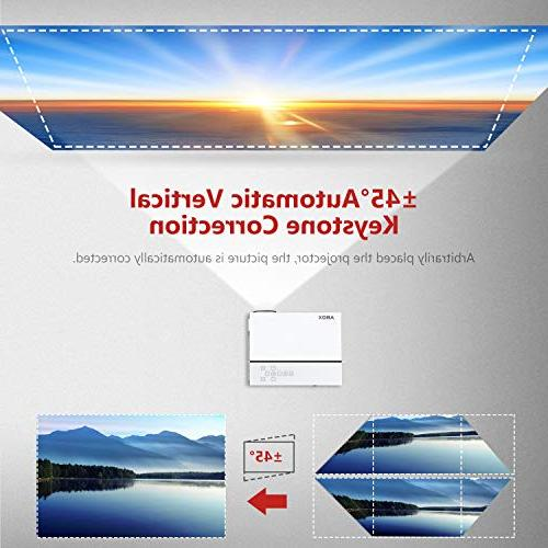 """Projector, Home Theater 1080p Projector, Up to 200"""" Image Sound, 50,000 Lamp Supports Card,"""