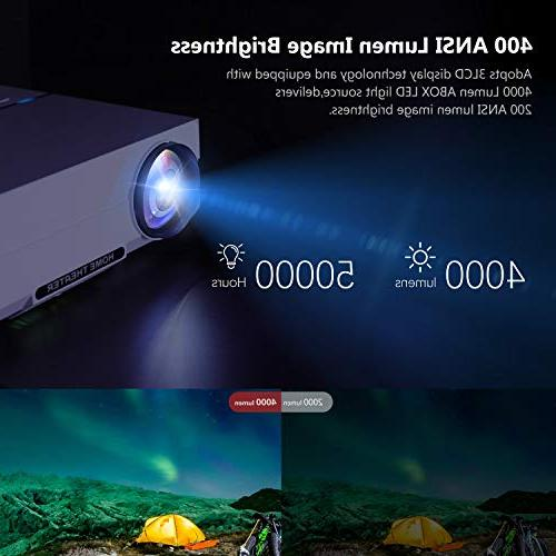 """Projector, ABOX Home Projector, to 200"""" Image Sound, ANSI Lumen, 50,000 Lamp Supports HDMI, USB, SD Card, VGA,"""