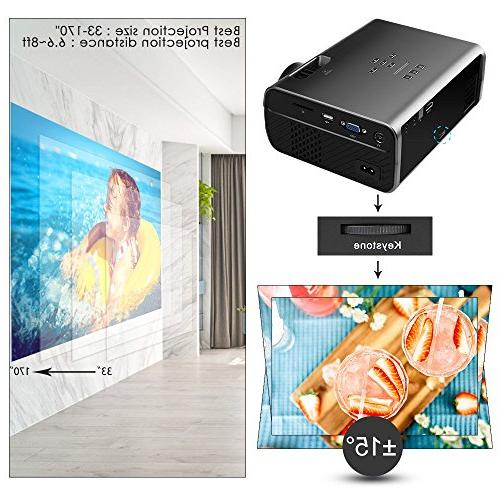 Projector, CiBest with Lux Display Home Entertainment Projector1080P Supported, with HDMI, and
