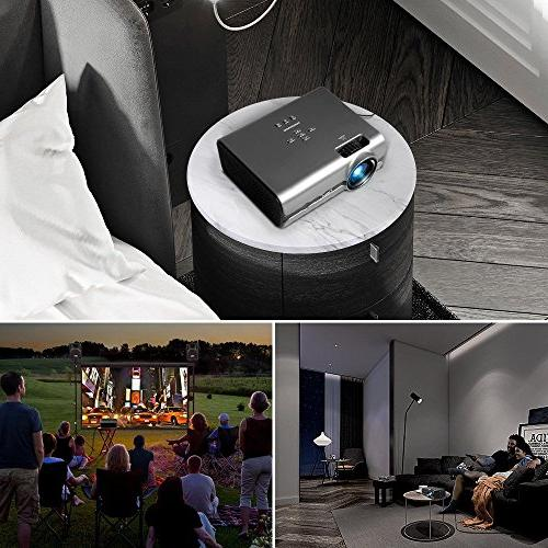 """Projector, CiBest Projector with 2500 Lux 170"""" Display Home Supported, HDMI, VGA, TF, and USB"""