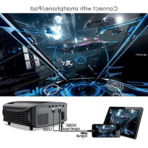 "Projector, GooDee 200"" LCD Home Projector Support 1080P VGA AV for Party and Games"