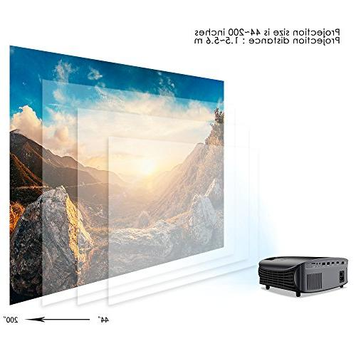 "Projector, 200"" Projector 1080P VGA AV USB for Home Entertainment, and Games"