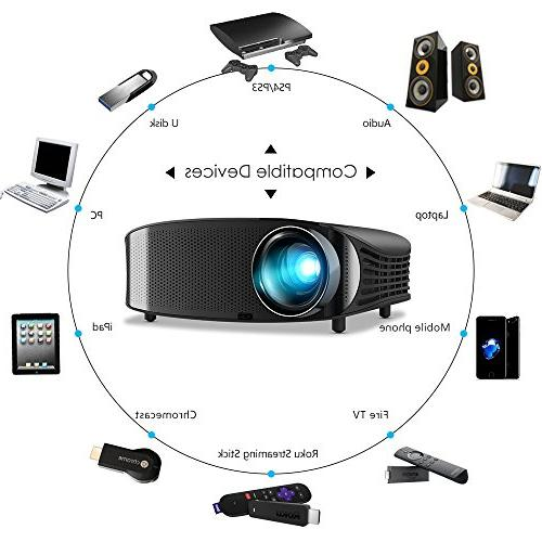 Projector Support 1080P HDMI VGA AV USB and Games