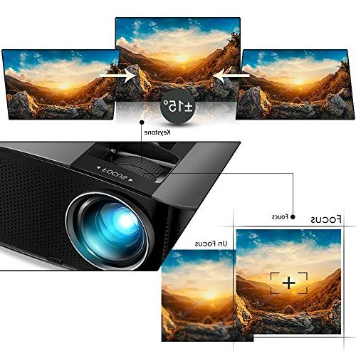 "Projector, Video 200"" LCD Projector 1080P VGA for Home Entertainment, and"