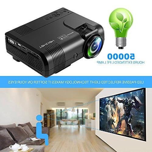 Projector, Tontion Lux Video Projector -50,000 Hour LED HD Mini Projector, with Amazon Fire Stick, VGA, AV, SD for Home Theater