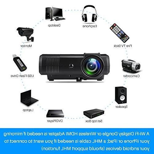 Projector, 2400 Lux Video Projector -50,000 Hour HD Projector, with Fire Stick, VGA, USB, AV, SD for Theater