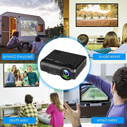 Projector, Tontion 2400 Lux Video -50,000 Hour HD Mini with Amazon Fire Stick, USB, AV, SD Home Theater