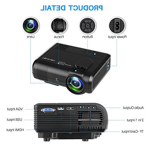 Projector, Tontion Lux Video Projector -50,000 Hour HD with Fire Stick, AV, SD Home Theater