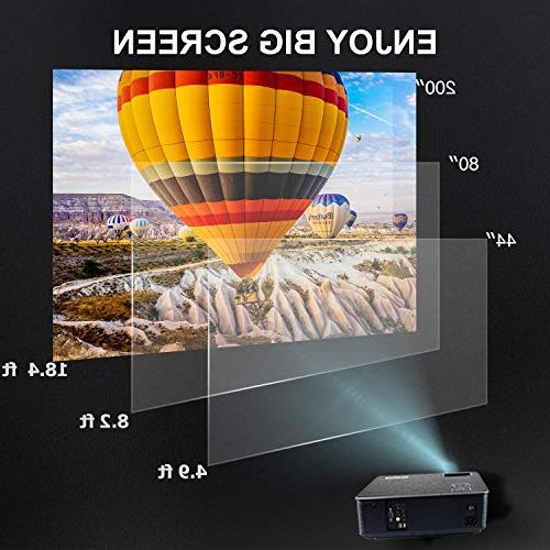 Projector, 1080P Display 50,000H LED Fire TV Laptop iPhone Via AV