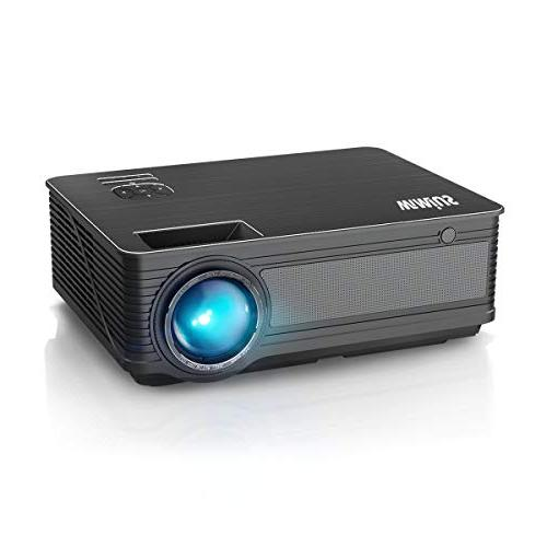 """Projector, WiMiUS P18 Lumens LED Projector 1080P 200"""" Display LED Fire iPhone Android Via AV Black"""