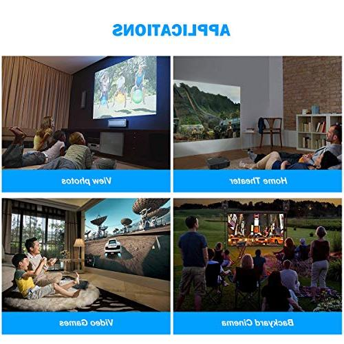 """Projector, WiMiUS 3800 Lumens 1080P 200"""" Display LED Compatible with Amazon Fire iPhone Android Phone Via HDMI VGA AV"""