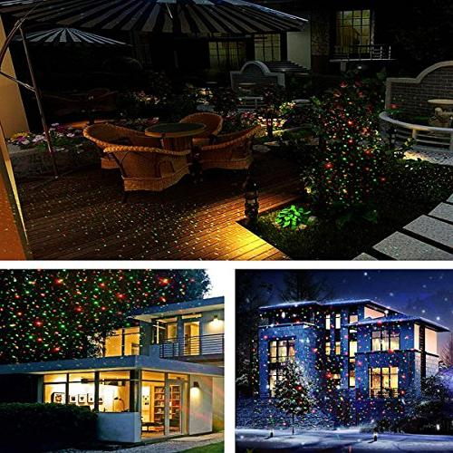 Excelvan Safe Voltage 5V IP65 Led Laser Shows Projector with Santa, Snow, Shinning Star Modes Wedding Bar Outdoor Control Included
