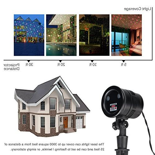 Excelvan Voltage 5V Laser Shows Projector with Santa, Shinning Modes Wedding Party Outdoor Included