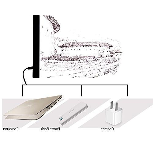 Tracing Light Pad Stenciling, Dimmable Brightness, USB Powered Lighted Panel Adult Artists, Acrylic Display Clips