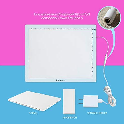 "Craftymint Large Ultra 19"" LED Pad - Powered - Multi-Stage Clarity and Strain Perfect Diamond Painting, Sketching and Tracing"