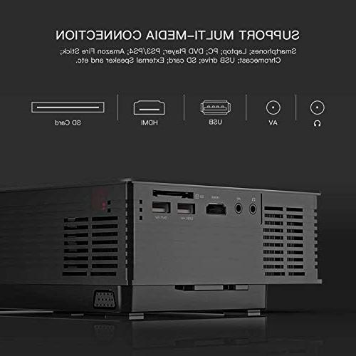 APEMAN Portable Projector 2200 Lumens LED Home HDMI/VGA/USB/SD Control for Family Entertainment