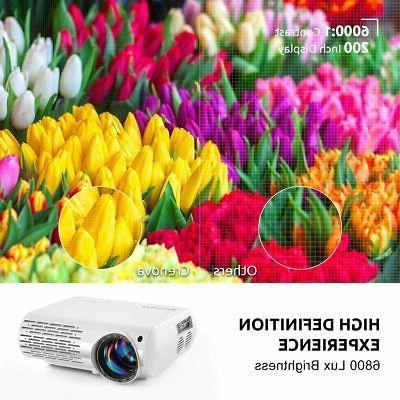 Crenova Video Projector, 6800 Lux Projector, 200'' Display
