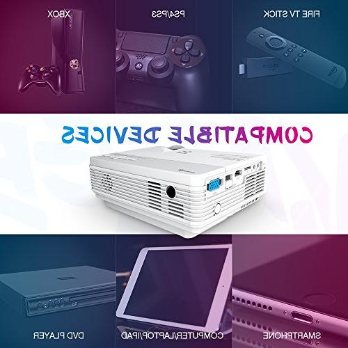 VIVIMAGE Portable Projector with Home Cinema Video Support 1080P Stick, and Smart with HDMI,