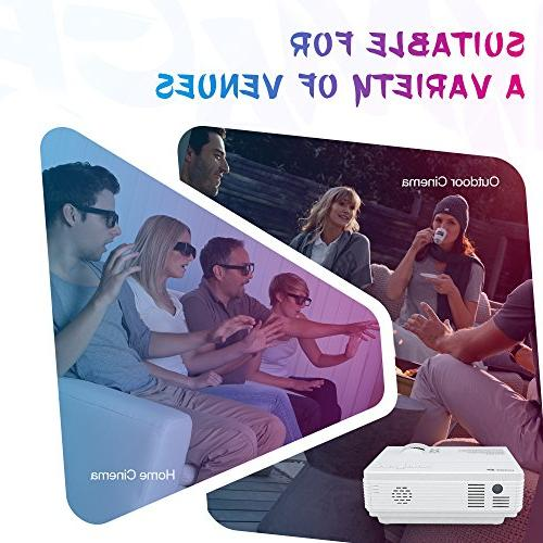 VIVIMAGE C3 Portable with Lux, Mini Home Cinema Video Projector, Support 3D, Stick, Xbox, and Smart Phone HDMI,