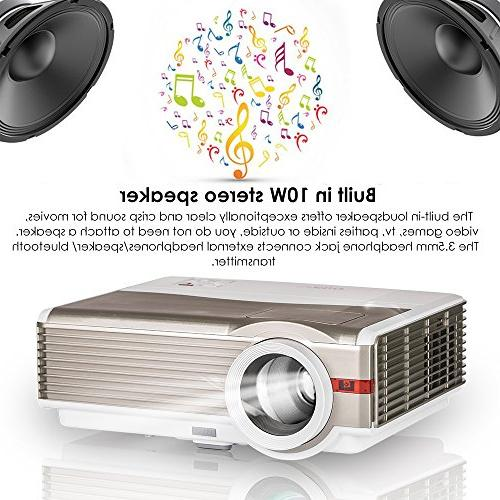 LED Projector 4200 Lumen HD Home Video HDMI TV Audio for Android Smartphone iPhone Mac Laptop DVD PS4 XBOX