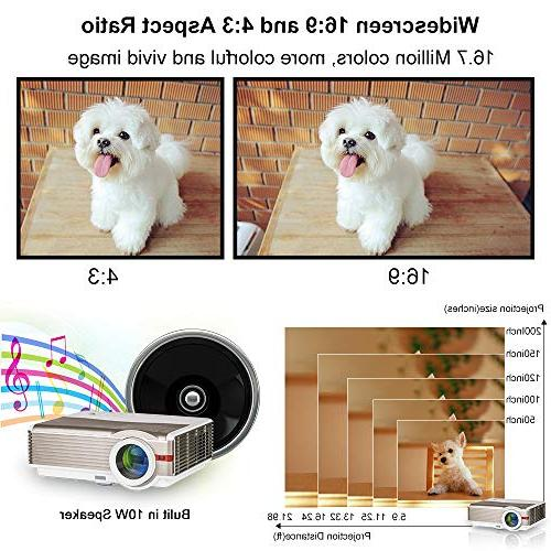 LED Outdoor Projector HD Home Video with HDMI VGA TV Speakers for Android Smartphone Mac Laptop DVD PS4
